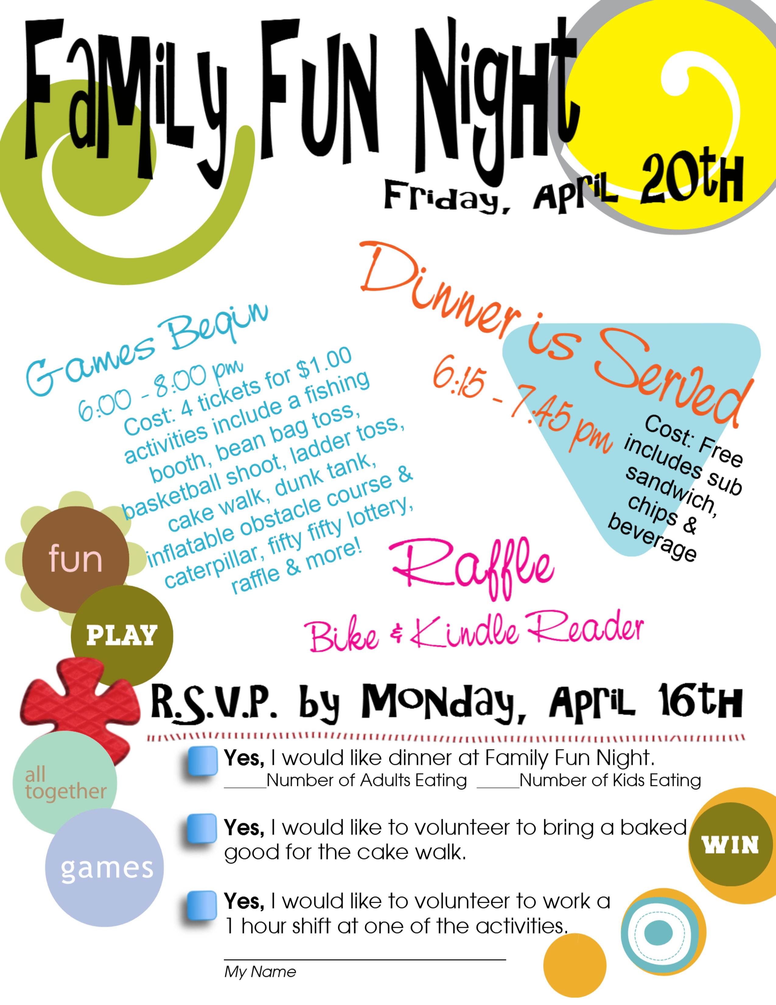 Family Fun Night April 20th