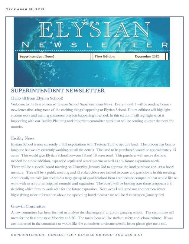 Elysian Newsletter