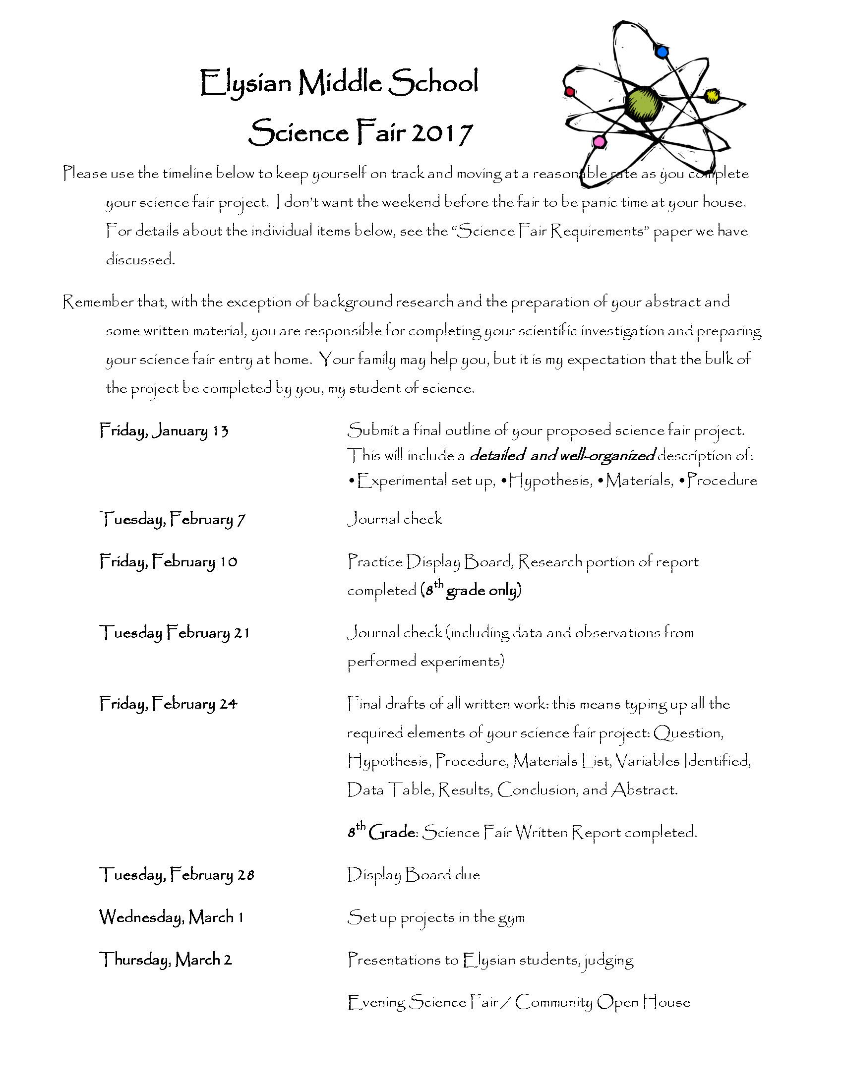 Middle School Science Fair Timeline | Elysian School
